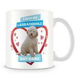 I Love My Labradoodle Dog Personalised Mug - Blue