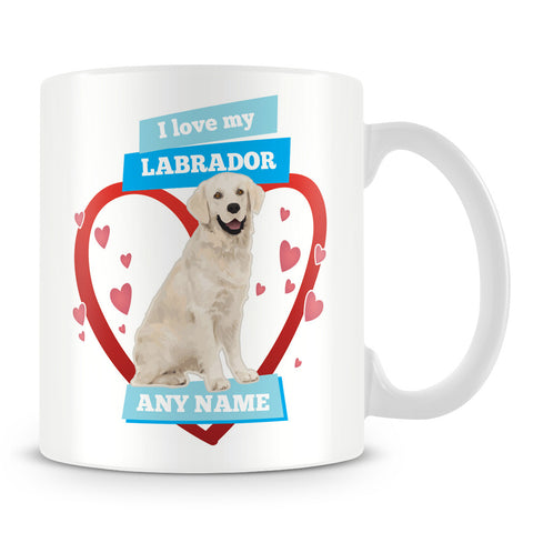 I Love My Labrador Dog Personalised Mug - Blue