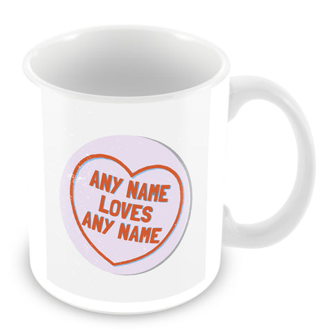 Love Hearts with Names Personalised Mug – Purple