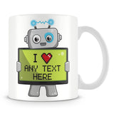 I Love - Robot Design Personalised Message Mug – Blue