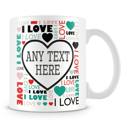 Love Heart Typography Personalised Mug