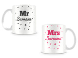 Mr and Mrs Hearts Personalised Mugs