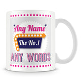 The No. 1' Retro Personalised Mug – Pink