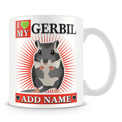 Gerbil Mug – I love My Gerbil Personalised Gift – Red