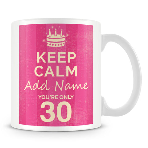 Keep Calm Birthday Mug - Personalised Gift – Pink