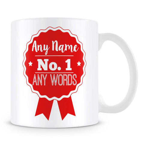 Number 1 Rosette Award Personalised Mug – Red
