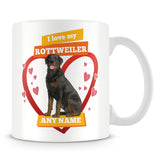 I Love My Rottweiler Dog Personalised Mug - Orange