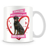 I Love My Rottweiler Dog Personalised Mug - Pink
