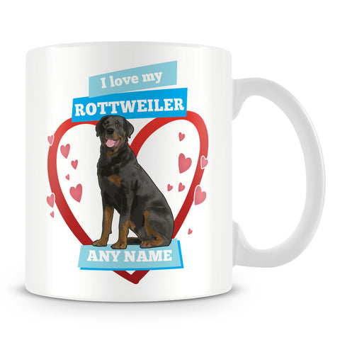 I Love My Rottweiler Dog Personalised Mug - Blue