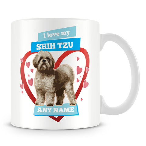 I Love My Shih Tzu Dog Personalised Mug - Blue
