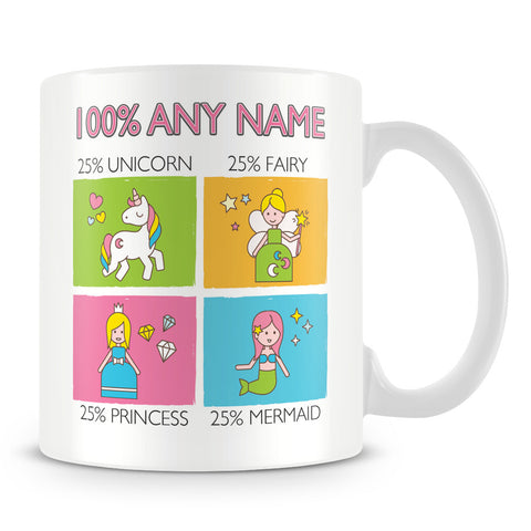 25% Unicorn, 25% Fairy, 25% Priness , 25% Mermaid Mug