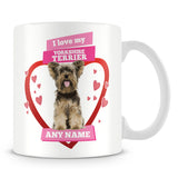 I Love My Yorkshire Terrier Dog Personalised Mug - Pink
