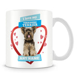 I Love My Yorkshire Terrier Dog Personalised Mug - Blue