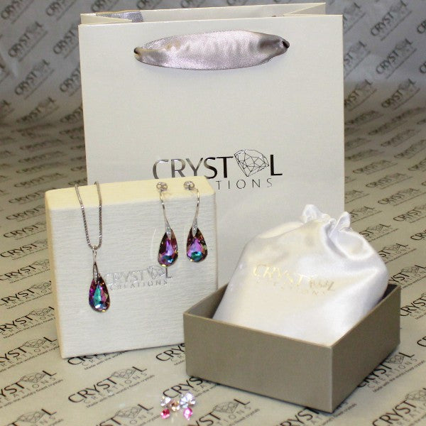 Swarovski Elements Amethyst Teardrop Set Pendant - Crystal Creations  - 1
