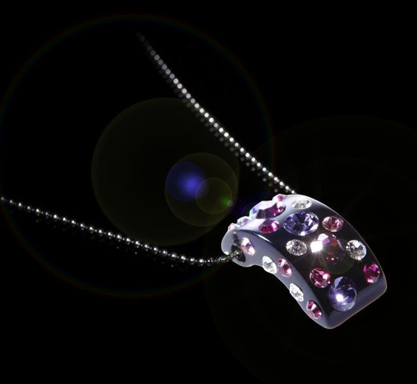Floating Crystal Small Pink Half Moon Pendant