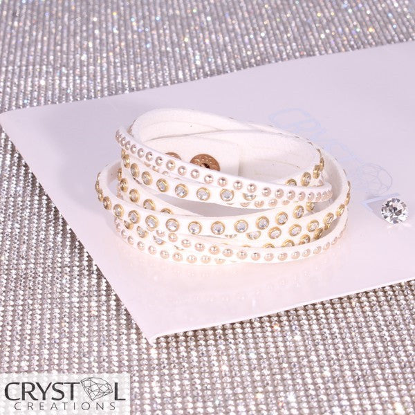 Rose Gold Studded White Wrap - Crystal Creations