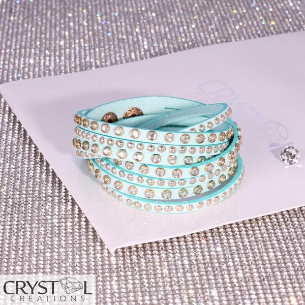 Rose Gold Studded Aqua Blue Wrap - Crystal Creations