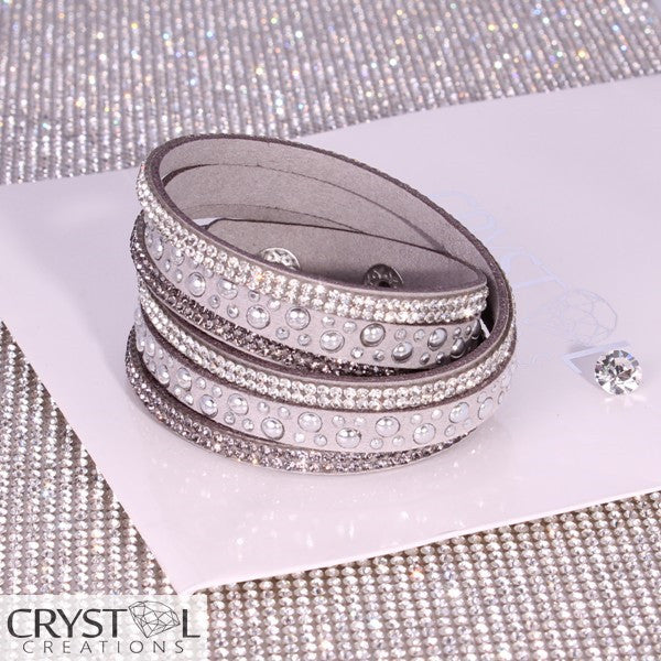 Silver Studded Grey Wrap with White Crystal Strip - Crystal Creations