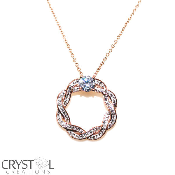 Rose Plated Stainless Steel Weave Style Necklace- Set Pendant with A Free Chain