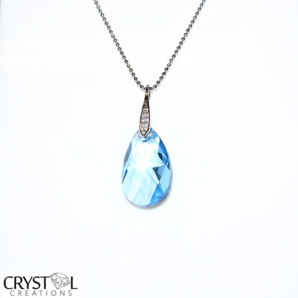 Swarovski Elements Aqua Blue Teardrop Pendant with Free Chain