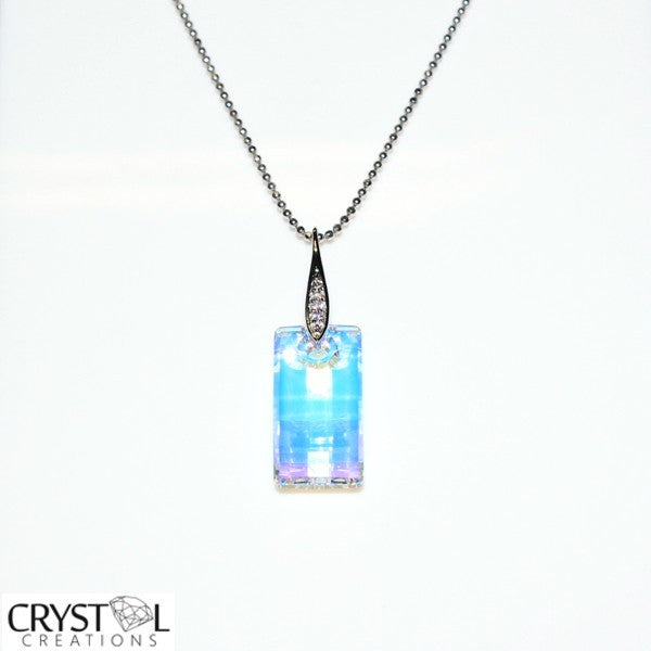 Swarovski Elements Ice Square Pendant with Free Chain