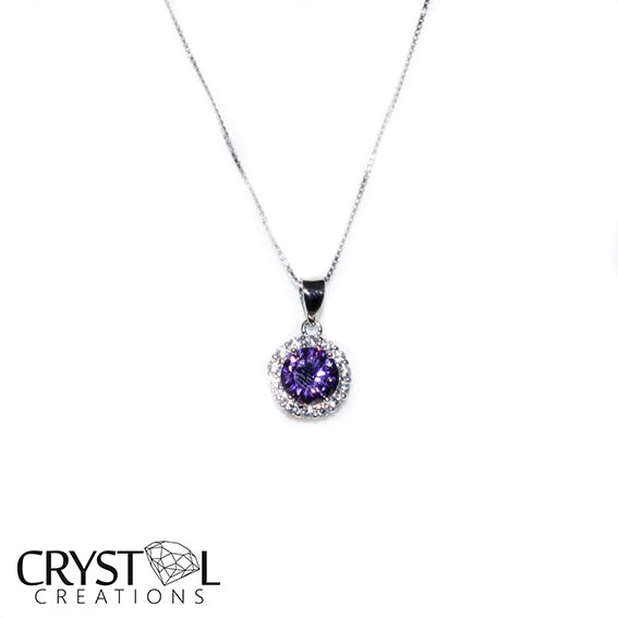 925 Sterling silver Purple princess pendant with free chain