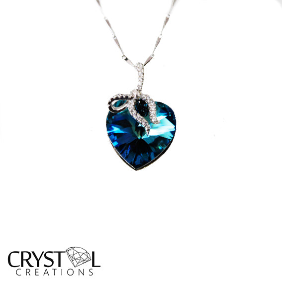 925 Sterling Silver Crystal Heart Ribbon Pendant