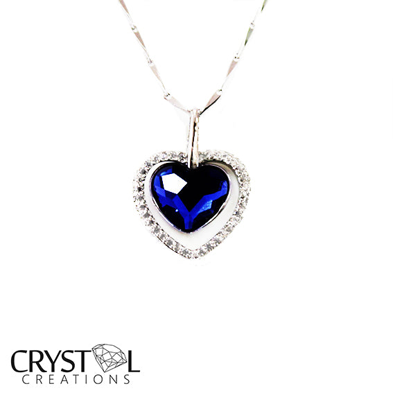 925 Sterling Silver Crystal Blue Heart Pendant