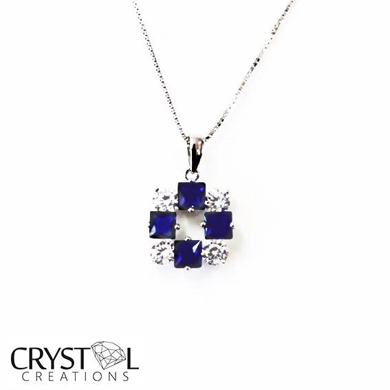 925 Sterling Silver CZ Crystal  Royal Blue Square Pendant