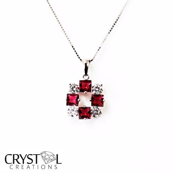 925 Sterling Silver CZ Crystal  Ruby Red Square Pendant