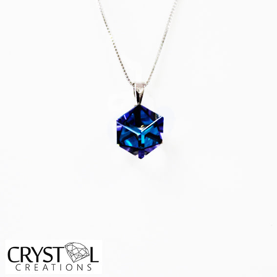 925 Sterling Silver Crystal Multi Colour Cube Pendant