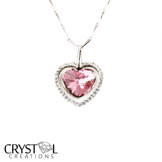 925 Sterling Silver Crystal Pink Heart Pendant