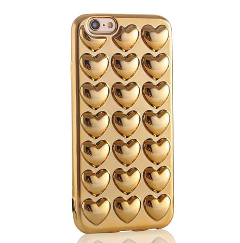 Metallic Bubble Hearts TPU Silicone iPhone Case (Gold) - CinderBloq Cases & Accessories