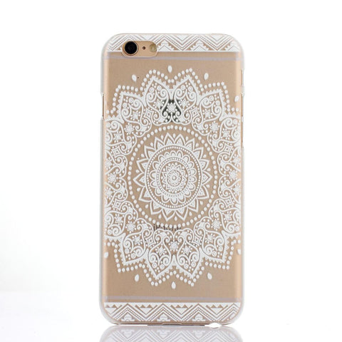 White Henna Sun Lace Print Transparent Mandala iPhone Case - Cinderbloq Cases & Accessories