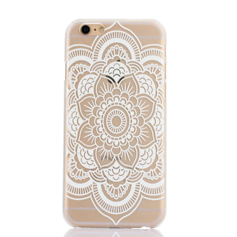White Henna Swirl Floral Transparent Mandala iPhone Case - CinderBloq Cases & Accessories