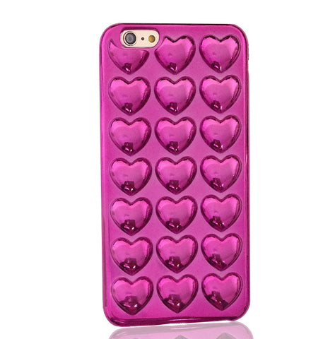 Metallic Bubble Hearts TPU Silicone iPhone Case (Pink) - Cinderbloq Cases & Accessories