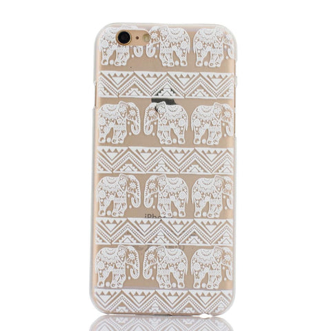 White Henna Elephant Print Transparent Mandala iPhone Case - Cinderbloq Cases & Accessories