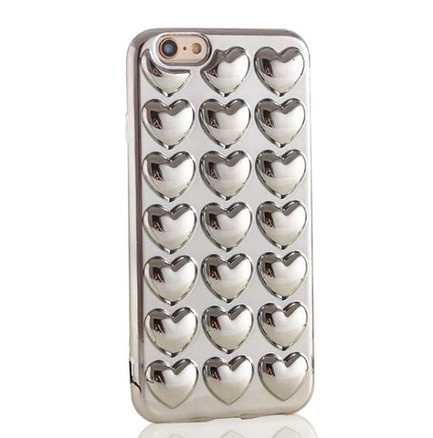 Metallic Bubble Hearts TPU Silicone iPhone Case (Silver) - Cinderbloq Cases & Accessories
