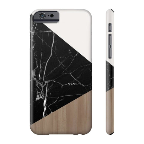 Wood & Black Marble Tangram Phone Case - Cinderbloq Cases & Accessories