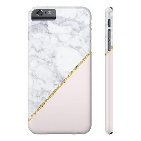 Pink Marble Gold Glitter Phone Case - iPhone 6 Plus / 6s Plus - Cinderbloq Cases