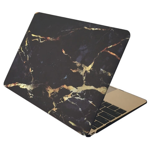 "Black & Gold Marble Laptop Case for MacBook Retina Display 12"" [A1534] (Black & Gold) - CinderBloq Cases & Accessories"