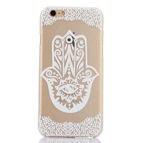 White Henna Hamsa Print Transparent Mandala iPhone Case - CinderBloq Cases & Accessories