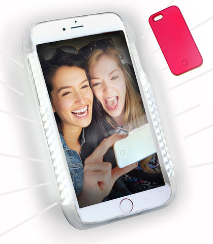 LED Illuminated Selfie Light iPhone Case (Hot Pink) - Cinderbloq Cases & Accessories