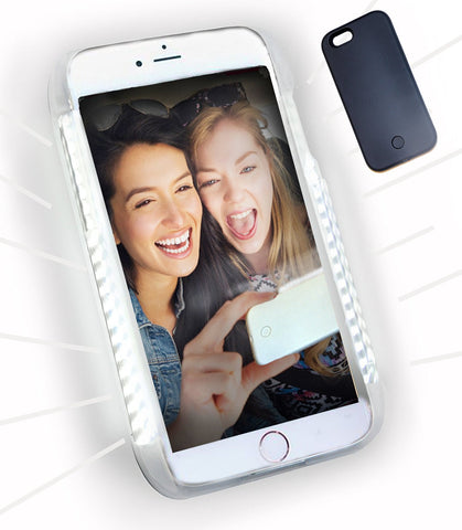 LED Illuminated Selfie Light iPhone Case (Midnight Black) - Cinderbloq Cases & Accessories