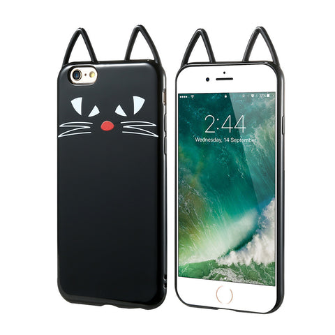 3D Black Kitty Cat Silicone - A - TPU iPhone Case - iPhone 7 - CinderBloq Cases & Accessories