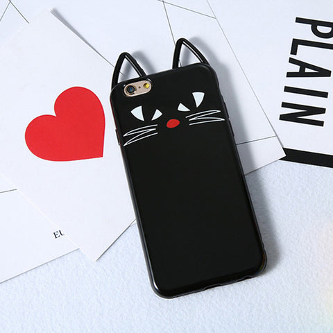 3D Black Kitty Cat Silicone - A - TPU iPhone Case - iPhone 6/6s - CinderBloq Cases & Accessories