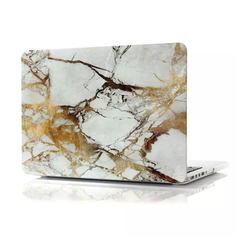 "White & Gold Marble Laptop Case for MacBook Pro with Retina Display 13"" [A1425/A1502] (Gold Marble)"