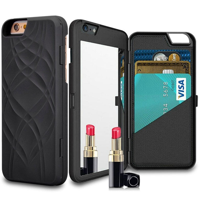 wallet amp mirror iphone case black cinderbloq cases