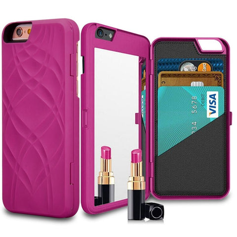 Wallet + Mirror iPhone Case (Rose) - Cinderbloq Cases & Accessories