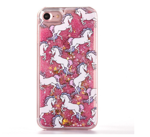 Fairy Dust Unicorn Liquid Glitter Stars Waterfall Case (Pink)